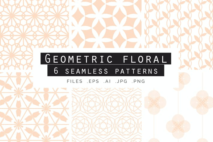 Cover Image For Geometric Floral Seamless Patterns