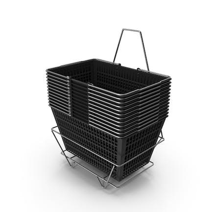 Set von 12 schwarzen Einkaufskörben mit Ständer
