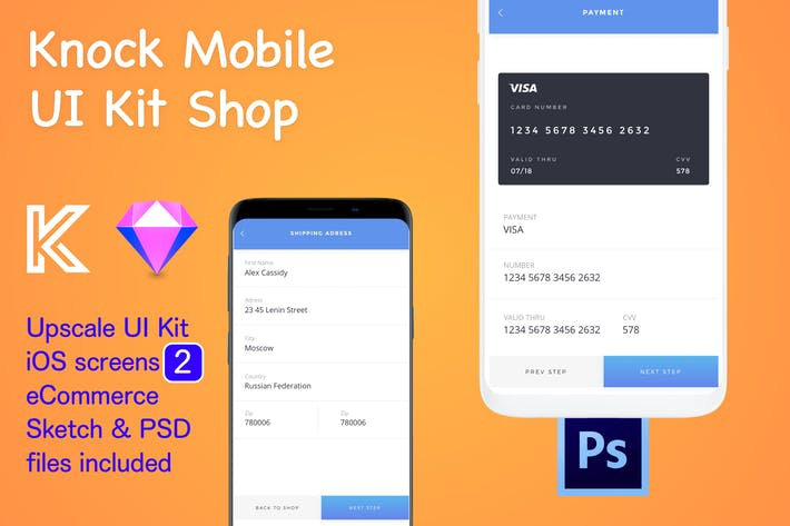 Thumbnail for Knock Mobile UI Kit eCommerce - 2 Screens