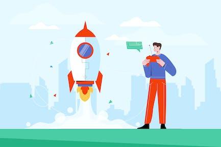 A man launches a rocket - Vector Illustration