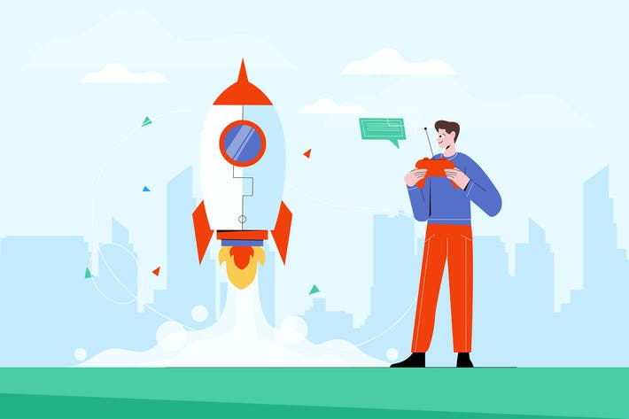 Thumbnail for Человек запускает ракету - Вектор иллюстрация