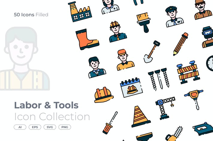 Labor and Tools Filled Icon