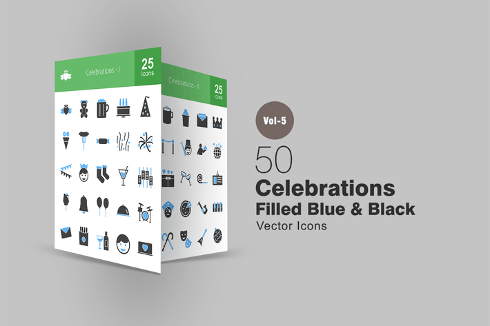 Thumbnail for 50 Celebrations Blue & Black Icons