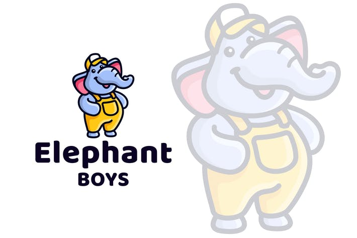 Thumbnail for Elephant Boys Cute Kids Logo Template