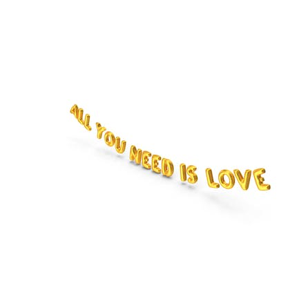 Foil Balloon Words All You Need is Love Gold
