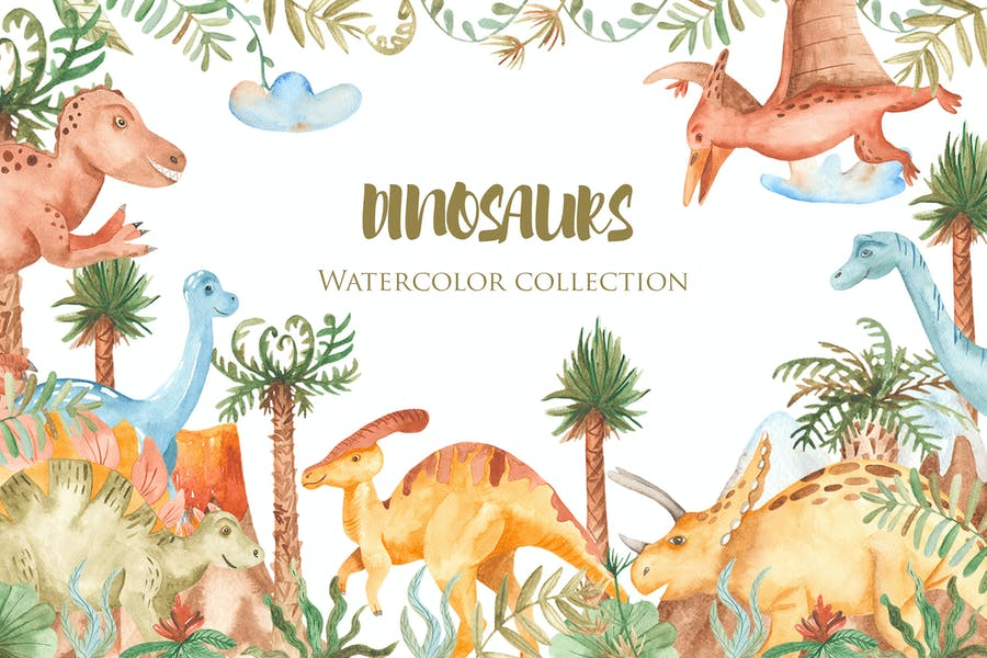 Watercolor Dinosaurs. Clipart, patterns, frames