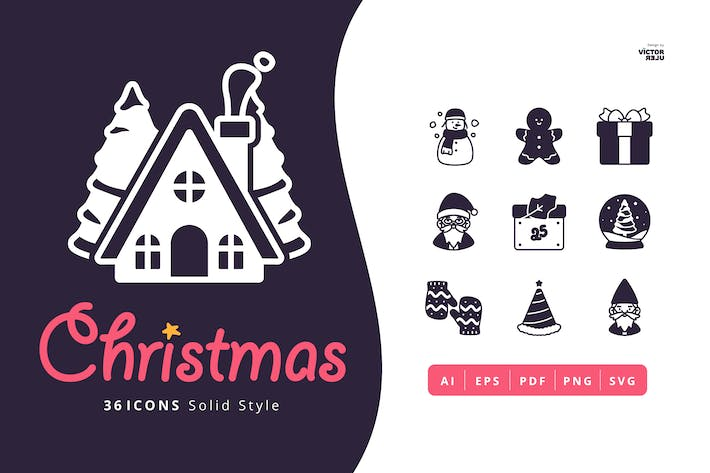 Thumbnail for 36 Christmas Icons Solid Style