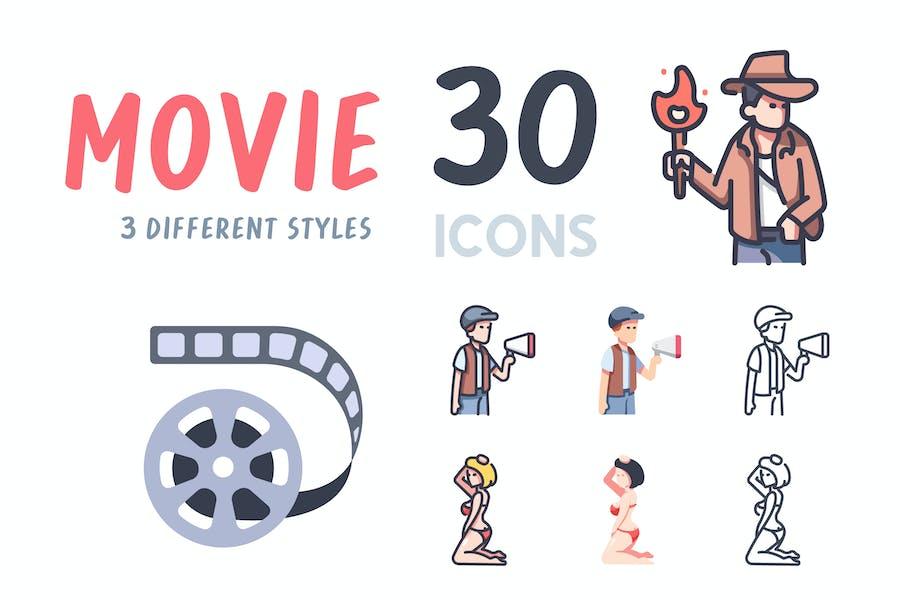 30 Movie icon set