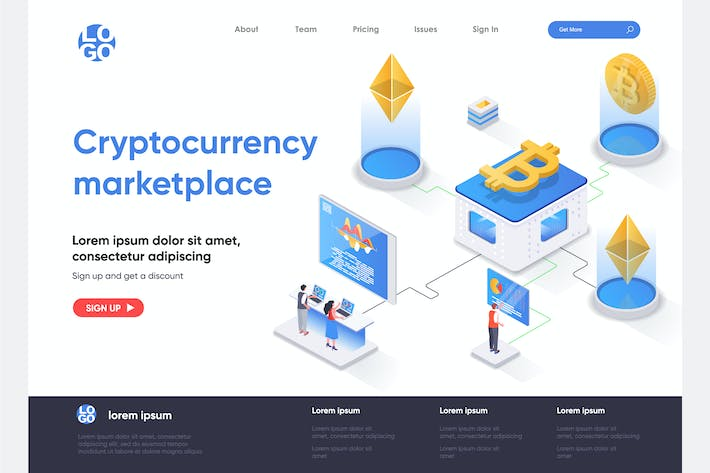 Thumbnail for Crypto Marketplace Isometric Landing Page Template