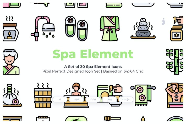 Thumbnail for 30 Spa Element Icons