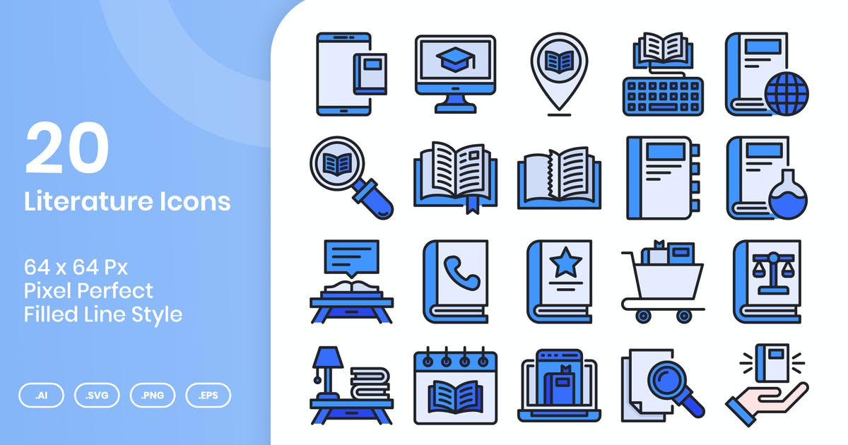 Download 20 Literature Icons Set - Filled Line by kmgdesignid
