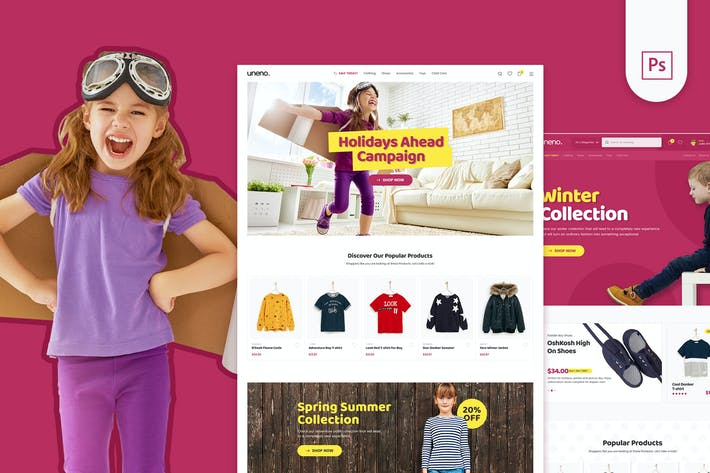 Thumbnail for Uneno - Kids Fashion eCommerce PSD Template