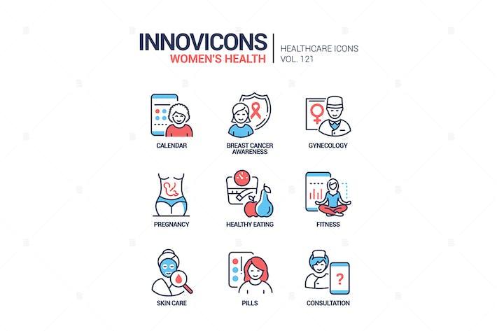 Thumbnail for Women health - line design style icons set