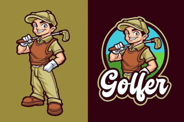 Golfer Mascot Character Logo Template