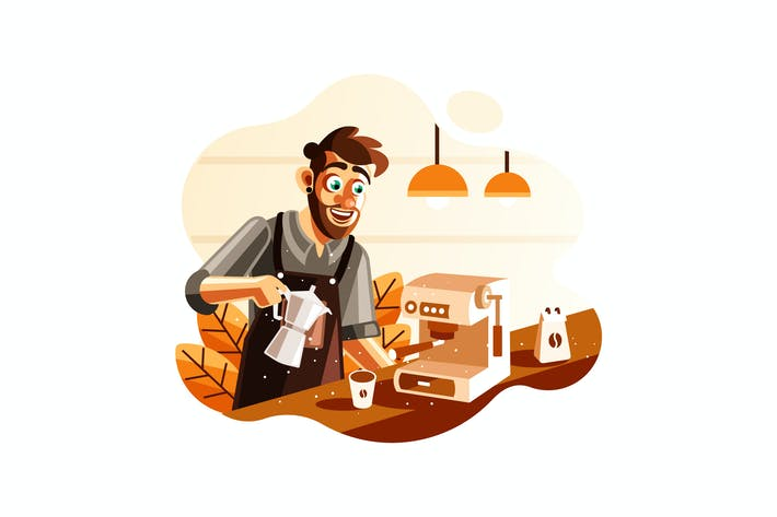 Cover Image For Barista making coffee in cafe Illustration