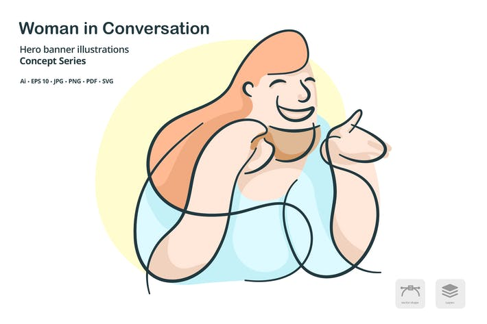 Thumbnail for Woman Conversation Vector Illustration