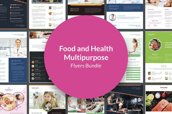 Thumbnail for Flyers – Food and Health Multipurpose Bundle