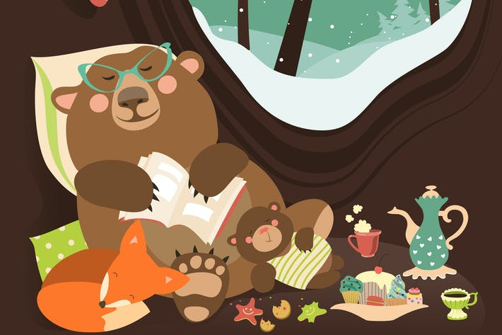 Thumbnail for Cute cartoon bear with cub and little fox sleeping