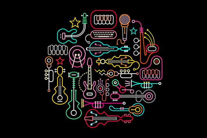 Cover Image For Musical Instruments round shape vector artwork