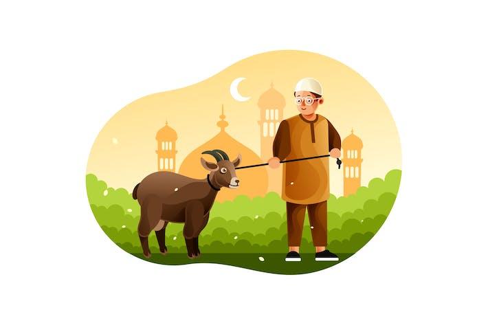 Thumbnail for Junge bringt Schafe in die Moschee, wenn Eid al-Adha