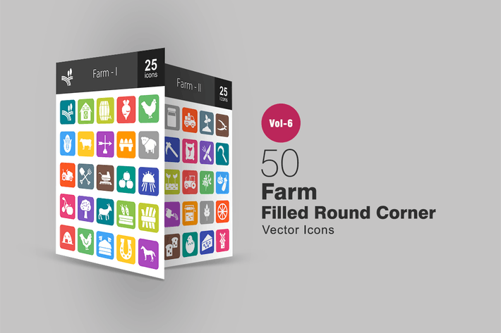 Thumbnail for 50 Farm Filled Round Corner Icons
