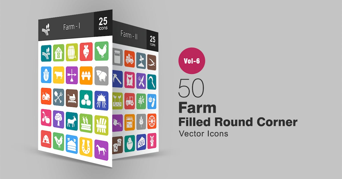 Download 50 Farm Filled Round Corner Icons by IconBunny