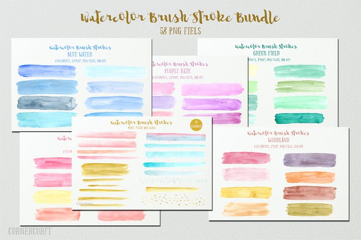 Thumbnail for Watercolor Brush Stroke Bundle