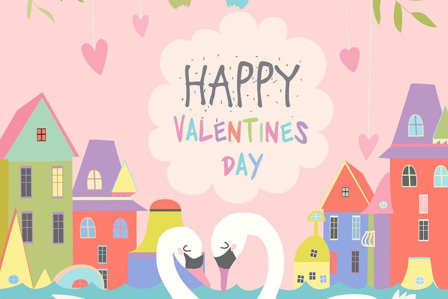 Pájaros lindos enamorados celebrando el Día de San Valentín.