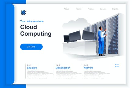 Isometric Cloud Computing Perspective Flat Concept