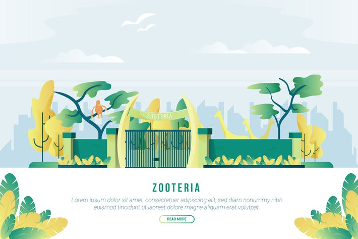 Cover Image For Zooteria - Vector Landscape & Building