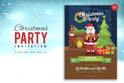 Merry Christmas Event Flyer PSD and Vector Vol.3