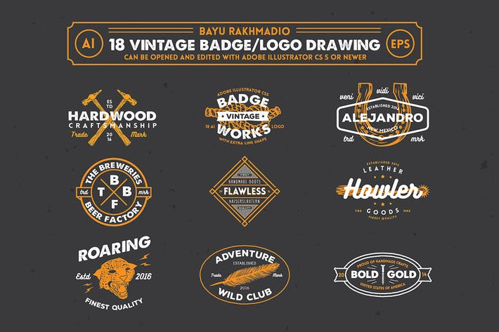 Thumbnail for 18 Hipster Vintage Badges