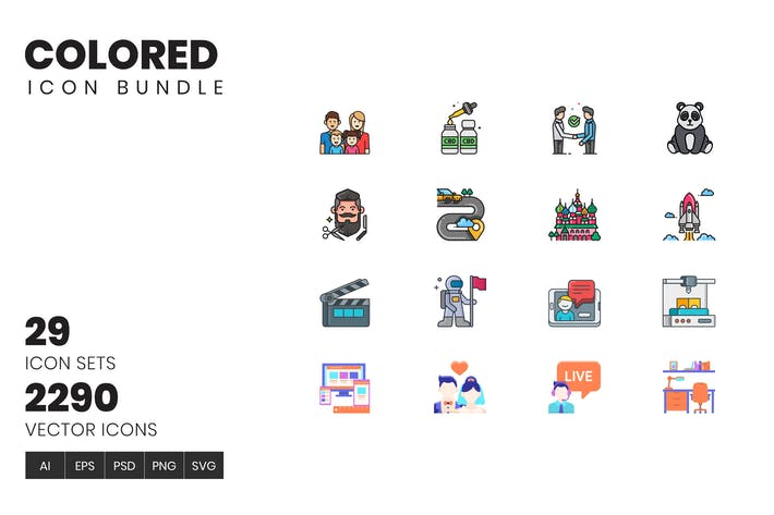 Thumbnail for 2200+ Icons - Colored Icon Bundle