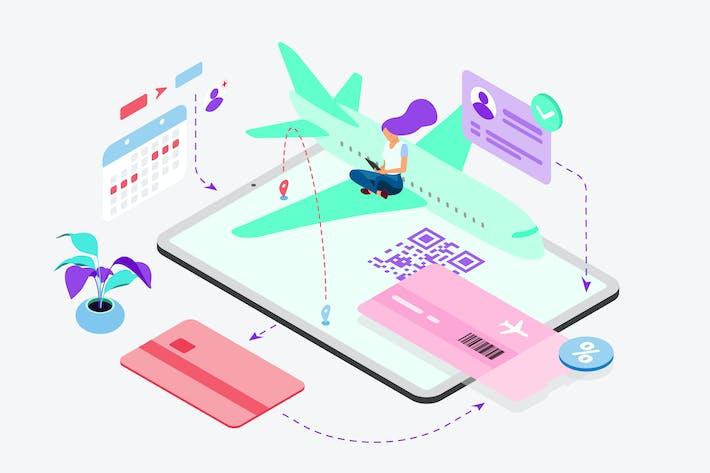 Buchen Sie Flugtickets von Digital Wallet Isometric
