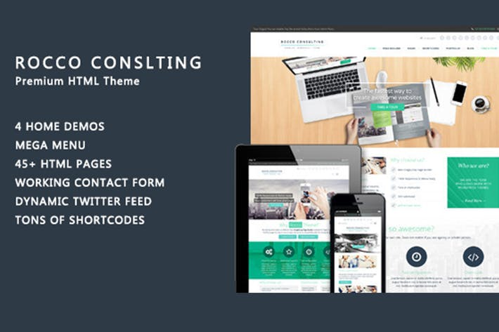 Thumbnail for Rocco Flat HTML Template