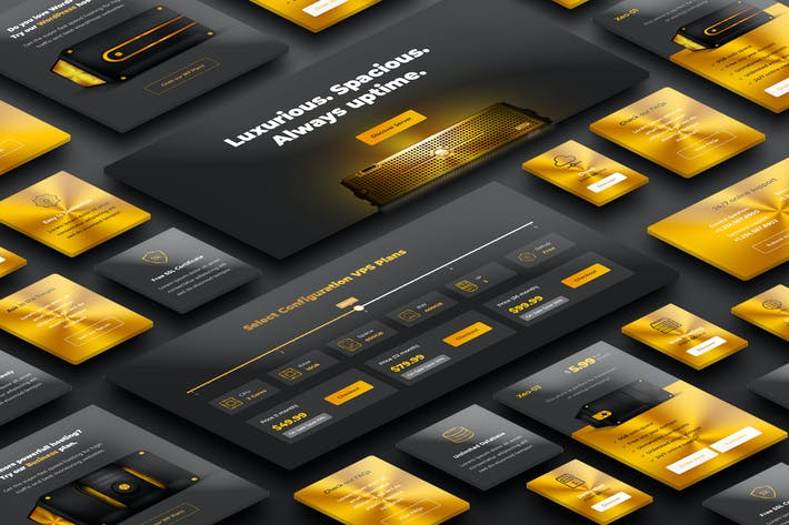 Thumbnail for Gold Web Hosting UI Kits