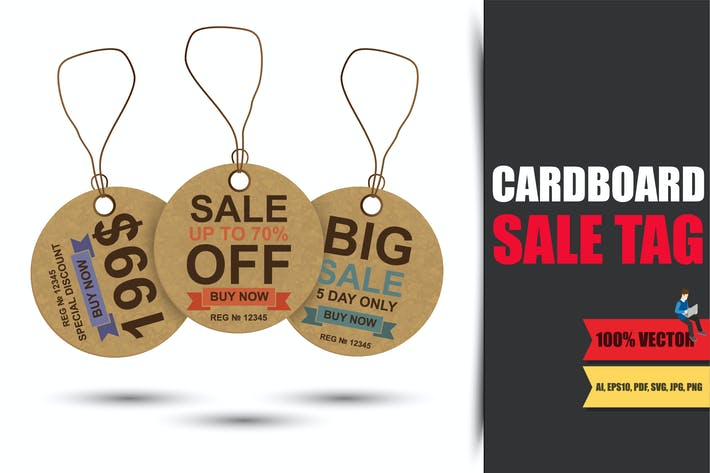 Cover Image For Realistic Cardboard Sale Tag