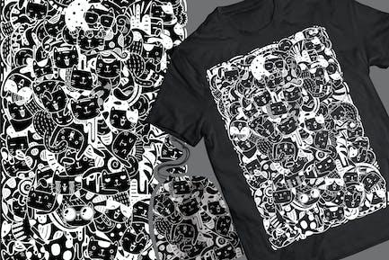 Meowtain Doodle T-Shirt & Tasche