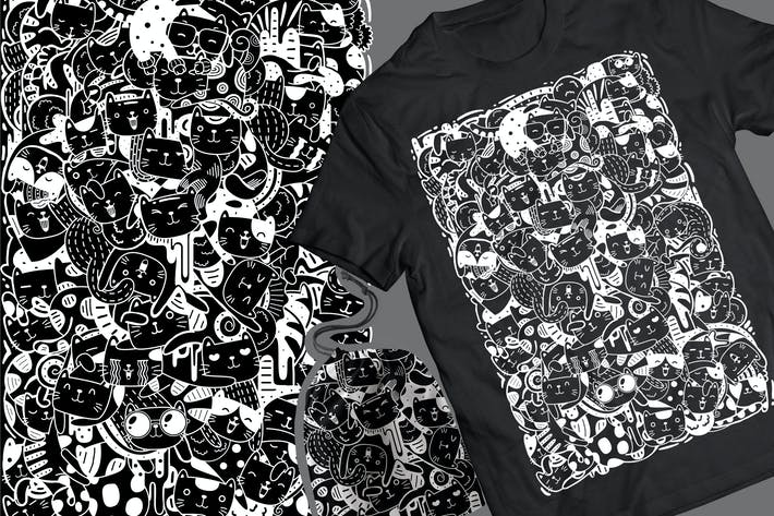Thumbnail for Meowtain Doodle T-Shirt & Pouch