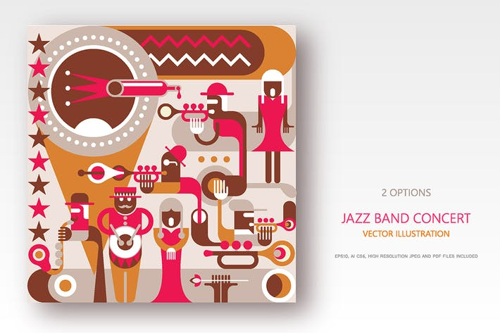 Thumbnail for Jazz Band concert retro style vector illustrations