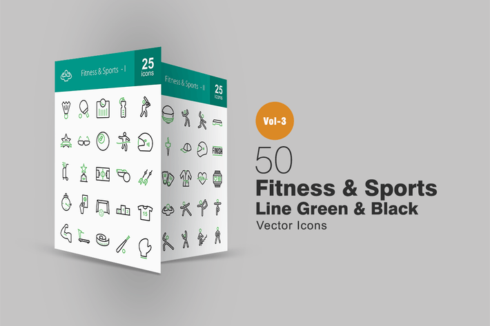 Thumbnail for 50 Fitness & Sports Line Green & Black Icons