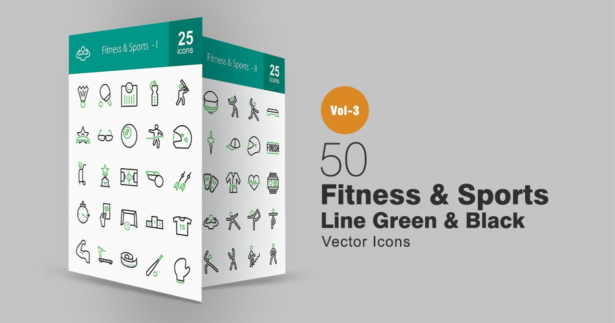 Download 50 Fitness & Sports Line Green & Black Icons by IconBunny