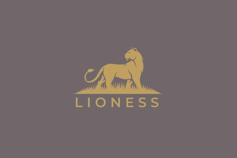 Female Lion Simple Logo Design