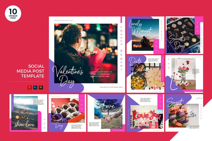 Thumbnail for Sweet Valentine Social Media Kit PSD & AI