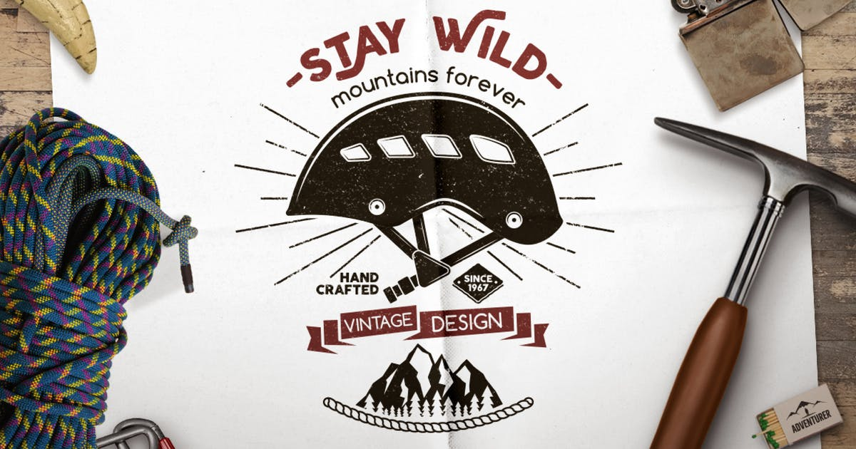 Stay Wild Badge / Vintage Logo Branding Design by JeksonJS