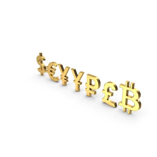 Währungssymbole Golden Set