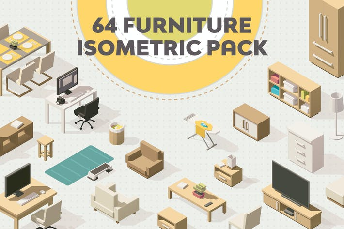 Thumbnail for Furniture Isometric Flat Set