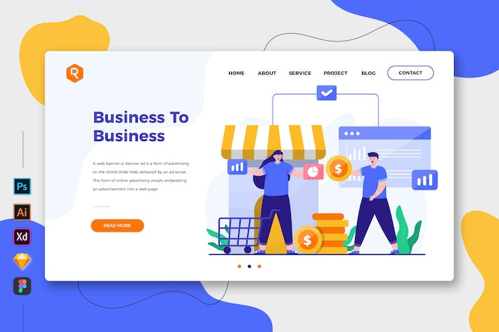 Thumbnail for Business To Business - Web & Mobile Landing Page