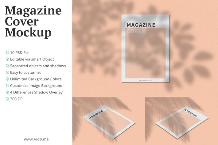 Thumbnail for A4 Magazine Cover Mockup 10 PSD Files