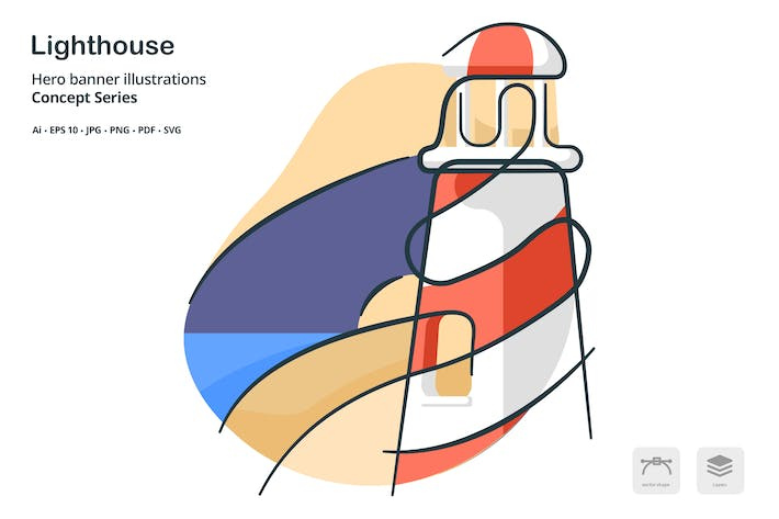 Thumbnail for Lighthouse Building Landmark Vector Illustration